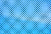 Cage Metal Wire Wall On Blue Sky