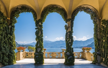 Scenic balcony overlooking Lake Como in the famous Villa del Balbianello, in the comune of Lenno. Lombardy, Italy.
