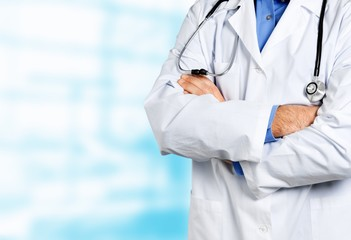 Portrait of doctor with stethoscope on blurred