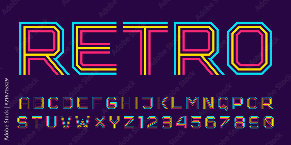 Fototapety, obrazy: Vector retro line font. Latin alphabet from A to Z and numbers from 0 to 9 made of rainbow line. Outlined stripes style.