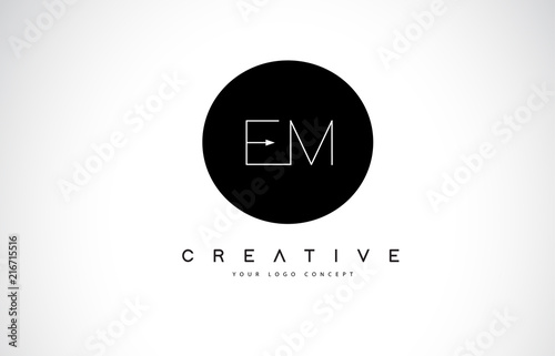 EM E M Logo Design with Black and White Creative Text Letter Vector Canvas Print