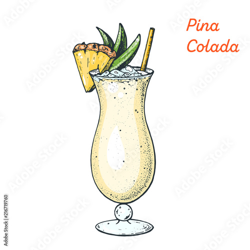 Canvas-taulu Pina Colada cocktail illustration