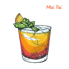Mai Tai Cocktail Illustration. Alcoholic Cocktails Hand Drawn Vector Illustration.