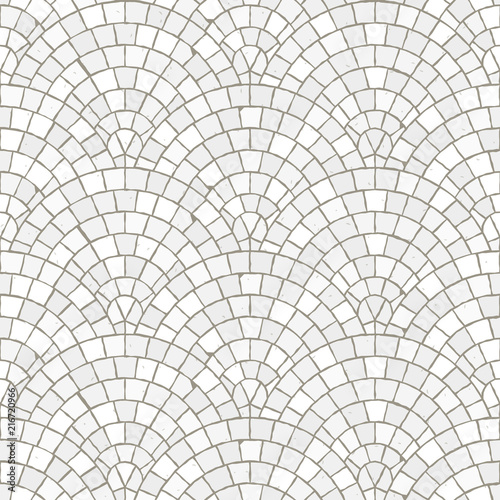Fototapeta Seamless mosaic floor pattern. White pavement stone tiles. Geometric mediterranean texture. obraz