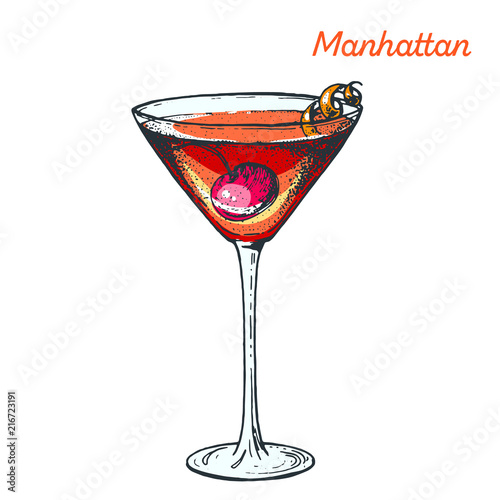 Manhattan Cocktail Illustration Alcoholic Cocktails Hand Drawn Vector Illustration Buy This Stock Vector And Explore Similar Vectors At Adobe Stock Adobe Stock