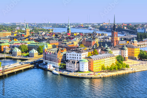 Raamstickers Stockholm Stockholm old town (Gamla Stan) skyline from City Hall top, Sweden