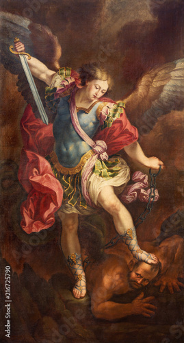 Foto ZARAGOZA, SPAIN - MARCH 2, 2018: The painting of Michael Archangel in church Iglesia de la Exaltación de la Santa Cruz by Manuel Eraso (after Guido Reni in Rome) from 18