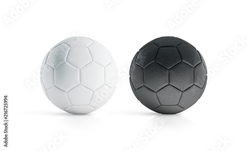 Photo  BLank black and white soccer ball mock up, isolated, 3d rendering