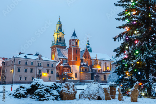 Fototapeta Wawel Castle in Krakow at twilight. Krakow is one of the most famous landmark in Poland obraz