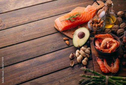 Papiers peints Echelle de hauteur Top view of Large group of food and good fats