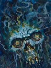 Abstract Impressionist Painting Of A Scary Undead Zombie Creature Floating In Water- Traditional Acrylic Watercolor Painting