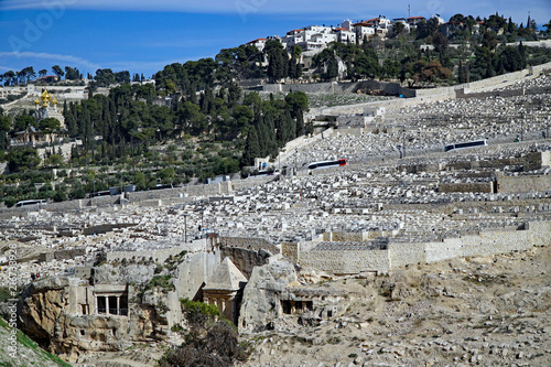 Cuadros en Lienzo Jerusalem, Mount of Olives with ancient cemetery and rock cut tombs
