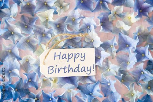 Photo  Sunny Hydrangea Flat Lay, Text Happy Birthday