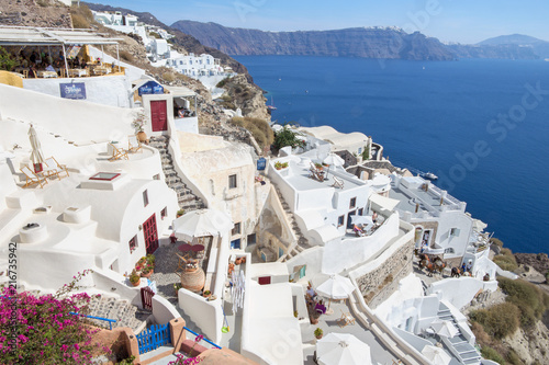 Staande foto Eiland SANTORINI, GREECE - OCTOBER 4, 2015: The look from Oia to east with the Imerovigli and Scaros in the background.