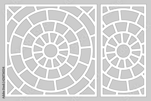 Fototapeta Decorative card set for cutting laser or plotter. Linear circular pattern panel. Laser cut. Ratio 1:2; 1:1. Vector illustration. obraz na płótnie