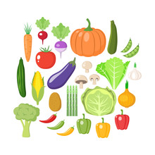 Colorful Vegetables Clipart Set. Vegetable Colored Cartoon Vector Collection.