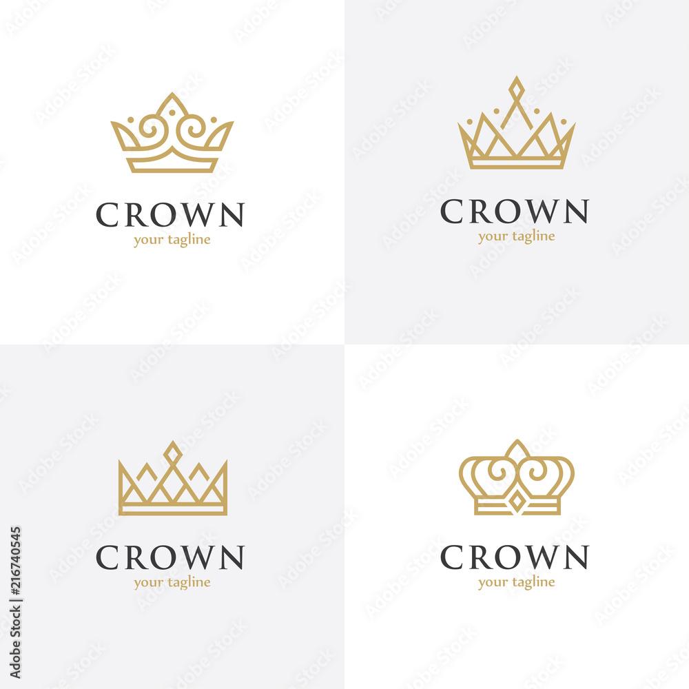 Fototapeta Four linear crown icons