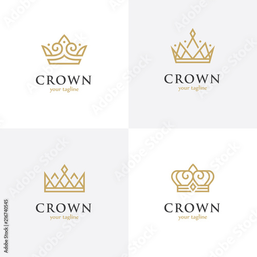 Obraz na plátne Four linear crown icons