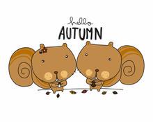 Hello Autumn Cute Couple Squirrel Cartoon Vector Illustration Doodle Style