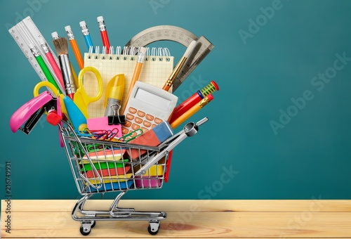 Photo  Back to School Supplies in Shopping Cart