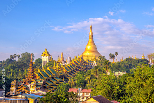 Fotografie, Obraz Yangon skyline with Shwedagon Pagoda in Myanmar