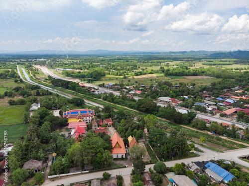 Aerial shot of common Thai public temple © bonnontawat