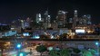 This is a roof top time lapse over looking the Downtown Los Angeles city skyline at night