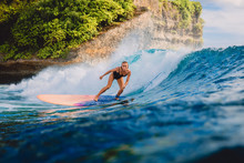 Surfer Woman Ride On Wave Surf...