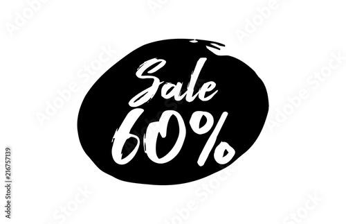 Poster  Sale 60 Percent Discount Lettering black Ink background
