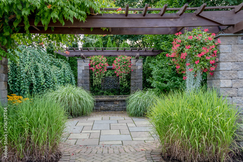 Spoed Foto op Canvas Lavendel Landscape architecture with water features for summer garden
