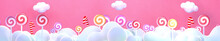 Sweet Lollipop Candy World. 3d Rendering Picture.
