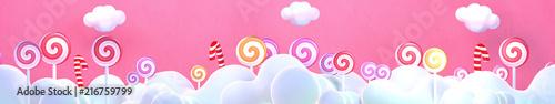 Sweet lollipop candy world. 3d rendering picture. Wallpaper Mural