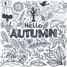 Sketchy Vector Hand Drawn Doodle Cartoon Set Of Objects And Symbols On The Autumn Theme