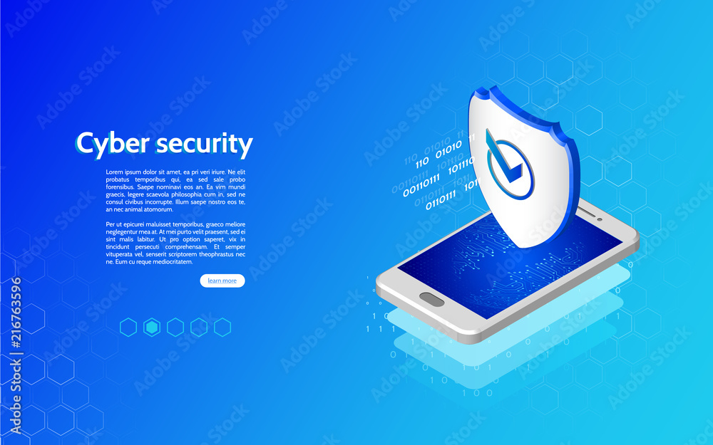 Fototapeta 3D Cyber security technology mechanism concept. Abstract isometric personal data protection. Header for website with smartphone and protection shield.