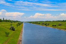 View On The Irrigation Canal On Summer