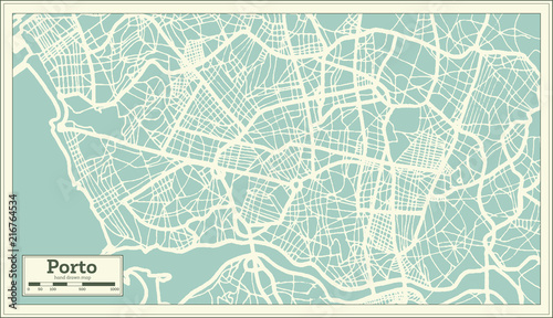 Photo Porto Portugal City Map in Retro Style.