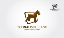 Schnauzer Vector Logo Template. Vector Silhouette Of A Schnauzer Dog On A White Background.