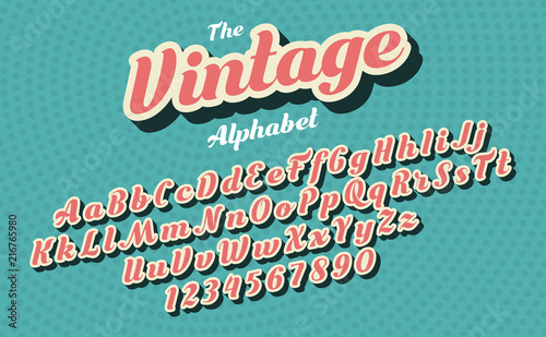 Pink vintage style latin alphabet and figures. Font design.