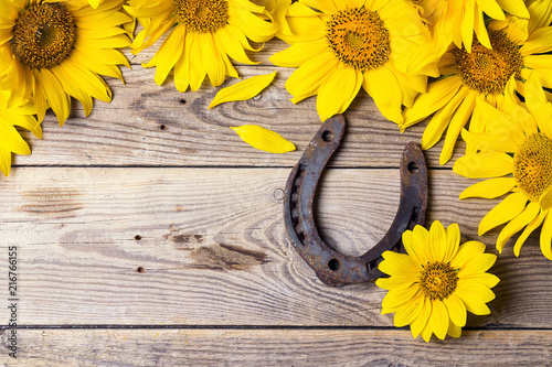 Sunflowers with rusty horseshoe on old wooden boards.