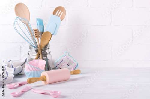 Fototapeta Workplace confectioner, food ingredients and accessories for making desserts , background for text or logo obraz