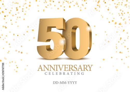 Anniversary 50. gold 3d numbers. Wallpaper Mural