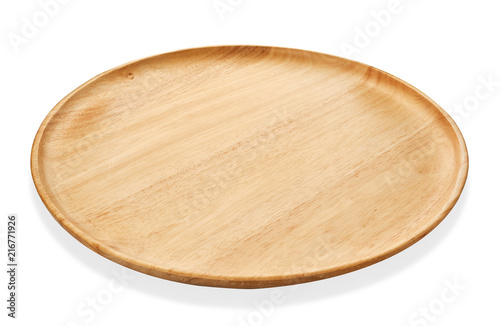 Round wooden tray or Natural wood plate, Serving tray isolated on white backgrou Wallpaper Mural