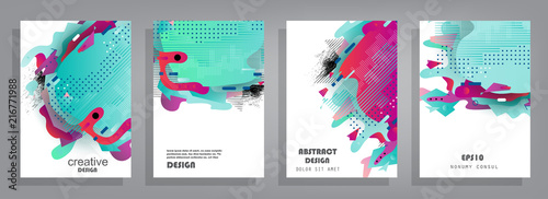 Fotografía  Covers templates set with graphic geometric elements