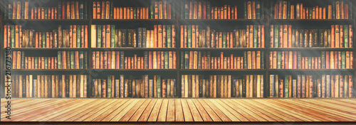 panorama blurred bookshelf Many old books in a book shop or library Canvas Print