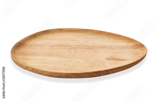 Empty oval wooden tray, Oval natural wood plate, Serving tray isolated on white Canvas Print