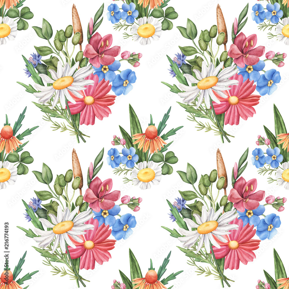 Seamless pattern with wild summer flowers - camomile, cornflower, forget-me-not, cosmos and greenery, watercolour raster illustration on white background. Seamless watercolor pattern with wild flowers