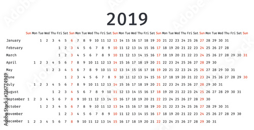 2019 calendar linear design  vector graphics  stationery