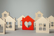 Search and selection of homes for purchase or rent. Many house and one red with heart