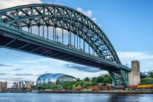 The Tyne River And Bridge In Newcastle Upon Tyne