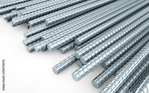 Stampa su Tela Steel reinforcement rebars on white background, construction industry